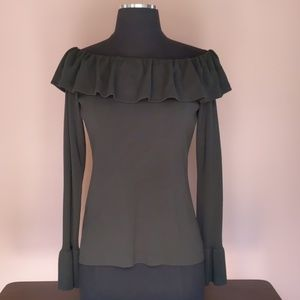 NWT Charcoal Ann Taylor Cold Shoulder Ruffle Top